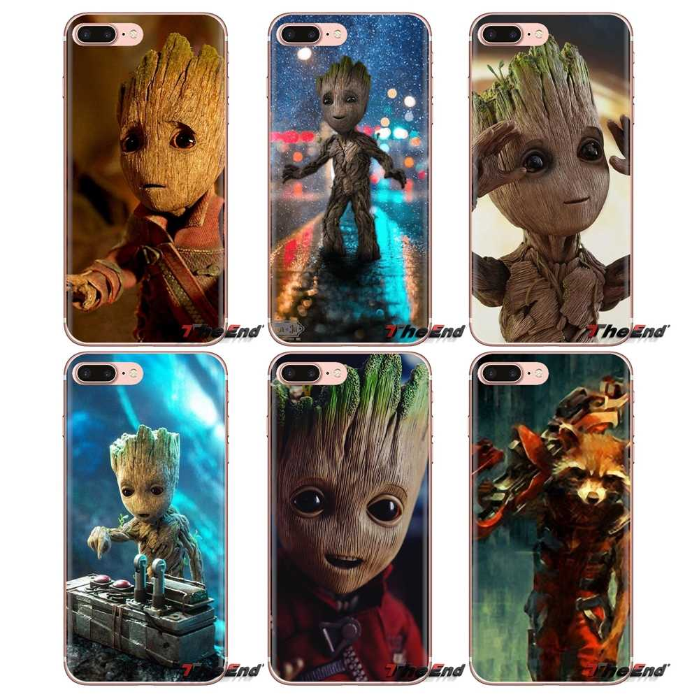 Untuk Samsung Galaxy S3 S4 S5 Mini S6 S7 Edge S8 S9 S10 Plus Catatan 3 4 5 8 9 guardian Rocket Raccoon Groot Treeman Phone Shell Case