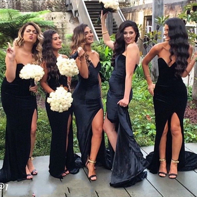 Popular Black Satin Bridesmaid Dresses-Buy Cheap Black Satin ...