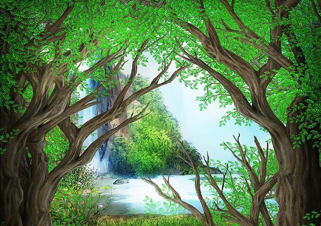 3d Fußboden Wald ~ Benutzerdefinierte d wandbilder wallpaper gemalt wald d