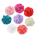 fabric Satin Rolled Rosettes Wedding Rose Puff Flowers kids Baby Girls Hair Accessories
