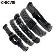 Chicvie 5 шт/компл черный Панк мужской кожаный браслет браслеты