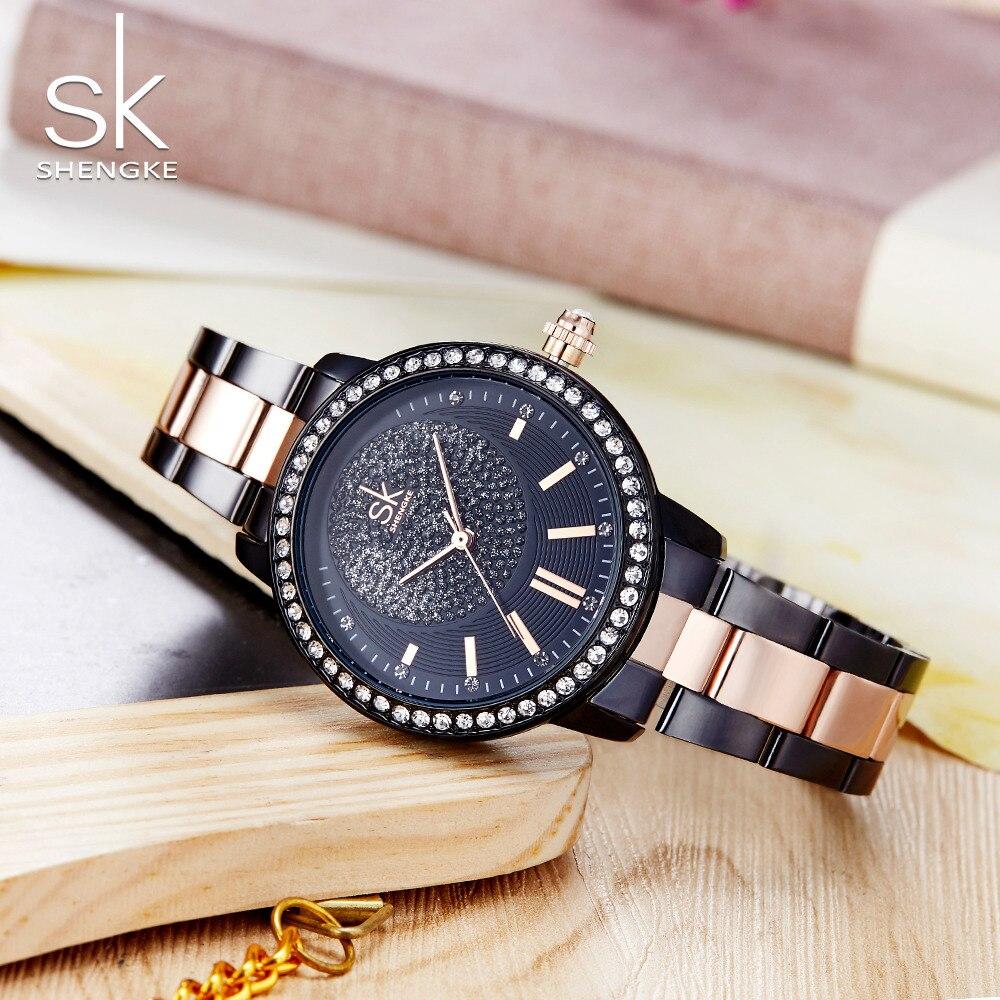 Shengke 2018 Top Brand Luxury Quartz Watch Crystal Women Bracelet Watch For Ladies Female Wrist Watch Relogio Feminino SK K0075