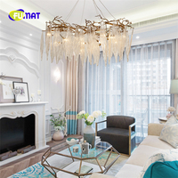FUMAT American Country Chandelier Postmodern Hotel Duplex Floor Living Room Dining Room Bedroom Copper Creative