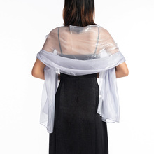 Elegant Bridal Wedding Silver Shawl wraps silky scarves for women evening party Free shipping