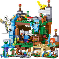 KACUU 378pcs 4 In 1 MY WORLD Compatible Legoed Minecrafted Figure City Building Blocks Bricks Set