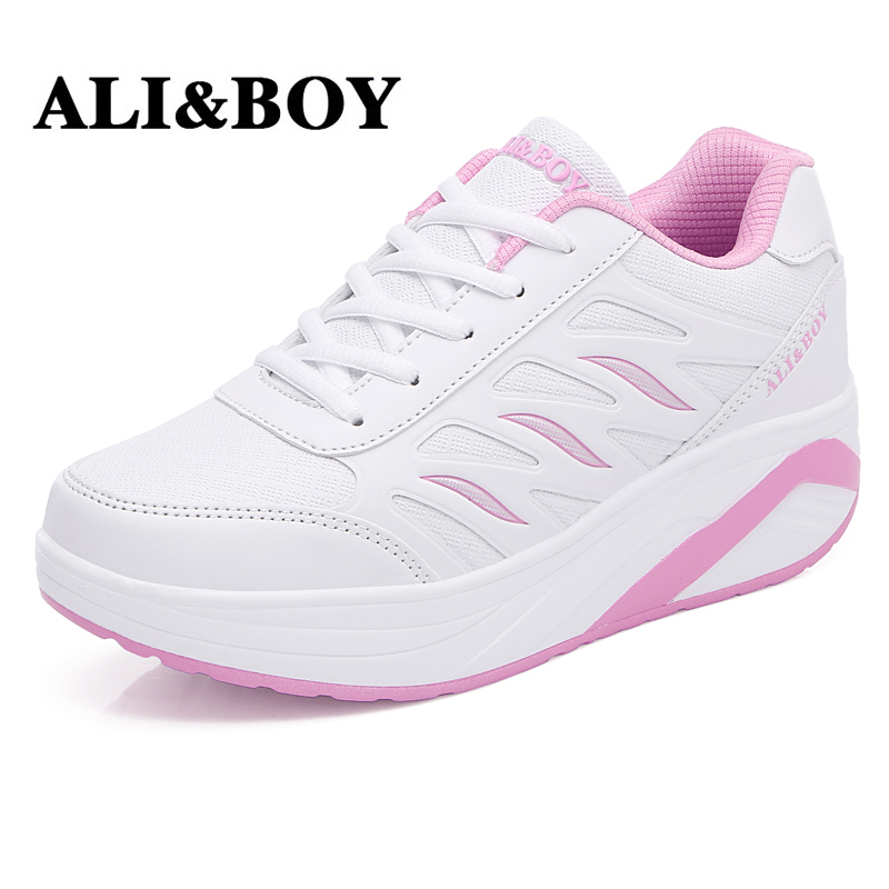 ALI&BOY Outdoor sport Sneakers Slimming Shoes Leather women 5cm wedges Swing Shoes running Fitness Lady Lose weight Shake shoes candy color slimming wedges casual shoes women platform shoes autumn trendy health lady beauty swing fitness shoes increasing