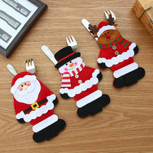 1Pc Christmas Stocking Bags Dining Table Knife Fork Holder Santa Claus Decoration Party Supplies