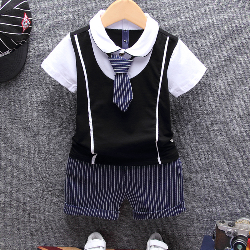 Boys Clothing Sets Summer Children Clothing Set Kids Baby Boy Clothes Bow Tie Shirts + Pants 2-8 Years Gentleman Suit top and top summer toddler boy clothes gentleman boy clothing set bow tie romper top straps shorts boys wedding party clothes