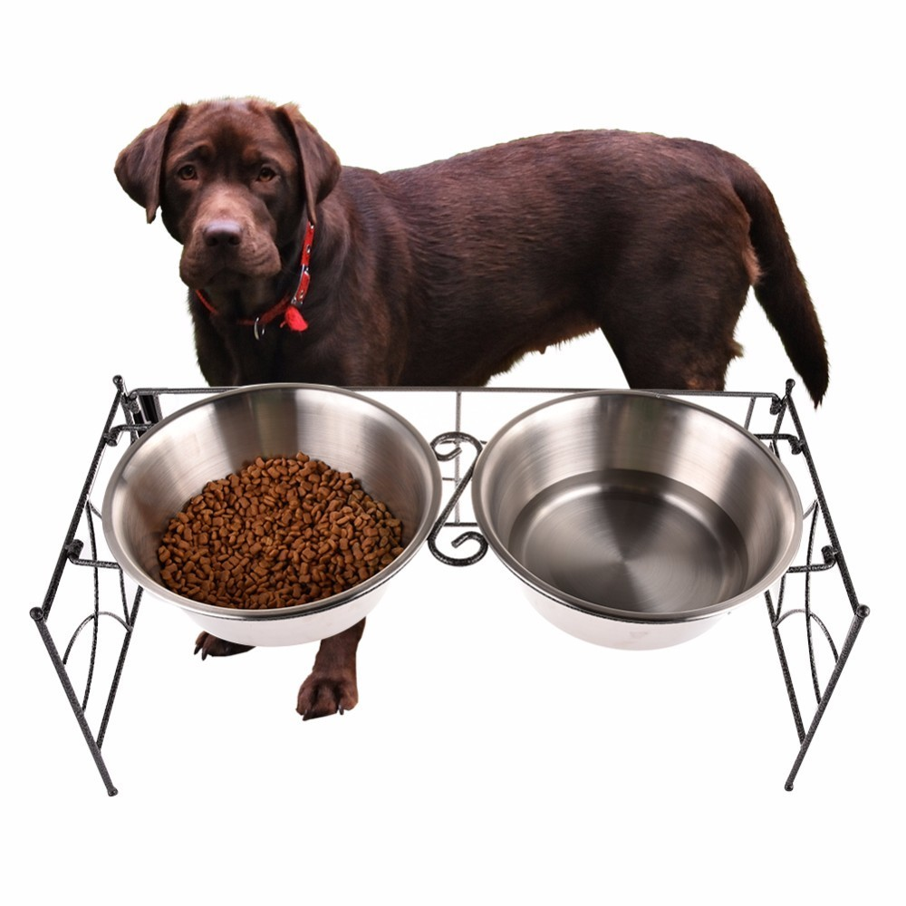 Convenient Foldable Stainless Steel Double Bowls Multifunction Large Dogs Pet Bowl Large and Medium-sized Dog Feed Product