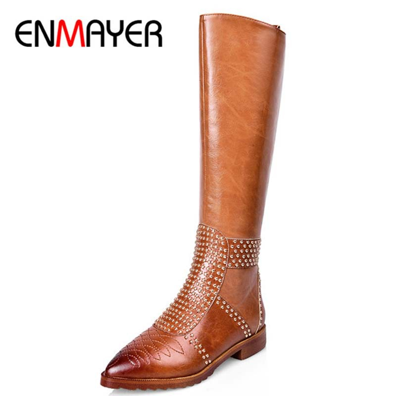 ENMAYER Women Boots Arrival The Knee High Boots Morden Round Toe Shoes Fashion High Heels Casual Motorcycle Style Leather Boots fringe wedges thick heels bow knot casual shoes new arrival round toe fashion high heels boots 20170119