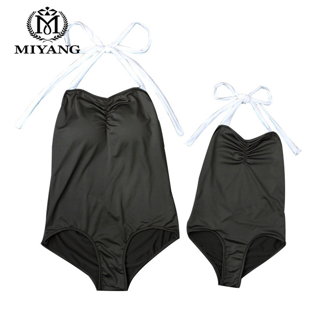 63c59540ac MiYang2017New Sexy Bikini Black Swimming Suit Parent-child Swimsuit One  Pieces Swimwear For Mother and Child Bathing Suit RU141