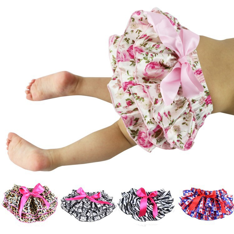 Floral Satin Baby Bloomers Layers Diaper Cover Newborn Flower Shorts Toddler Cute Summer Short Pants With Skirt