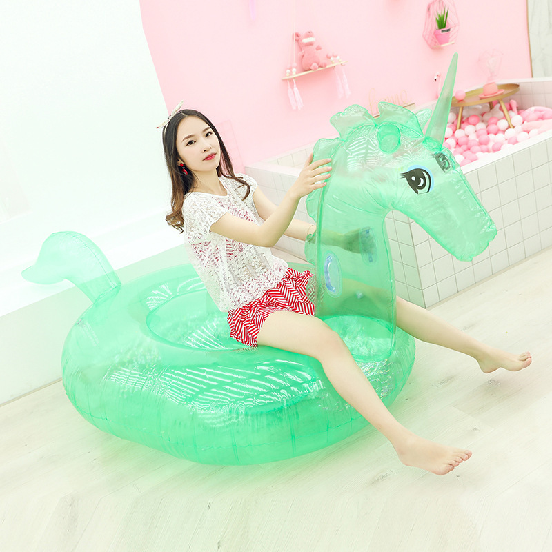Fashion Lovely Transparent Unicorn Inflatable Float Line Cute Unicorn Floating Row Pool Party