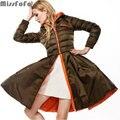 CLJ MissFoFo Mujeres Abajo Abrigos Chaquetas Reversible de Doble Cara Escudo la Calidad de la moda Femenina Falda Delgada Parka Desmontable Vestido de 2 en 1
