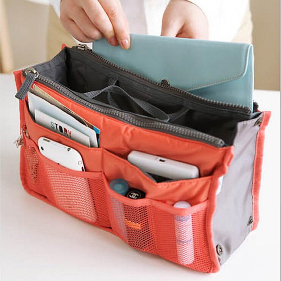 15 Colors Make up Organizer Bag Men Casual Travel Bag Multi Functional Women Cosmetic Bags Storage Bag in bag Makeup Handbag цена 2017