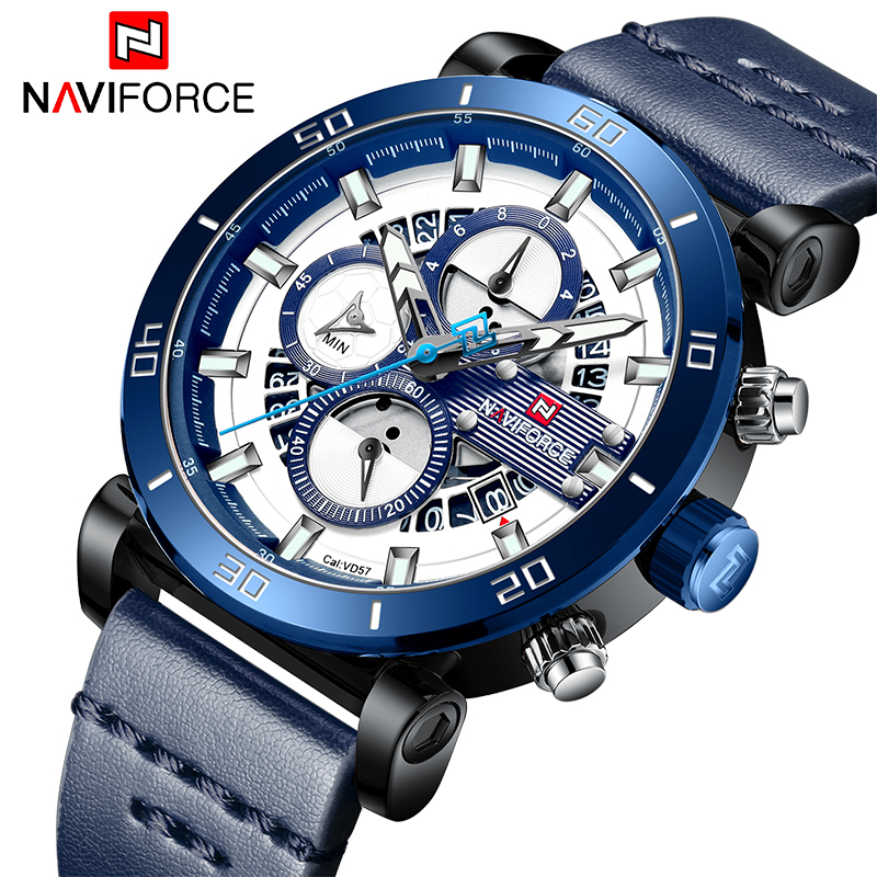 2019 New Luxury Brand NAVIFORCE Mens Military Sport Watch Men Leather Chronograph Quartz Wrist Watch Male