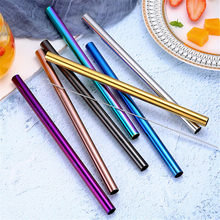 1PC Multicolor Cocktail Straw For Coffee Bar Stainless Steel Drinking Juice Straws Reusable(China)