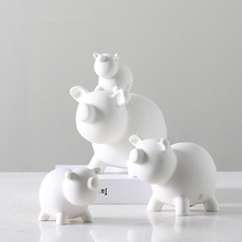 Creativity Desktop Animal Display White Pig Statue Modern Simple Ceramic Sculpture Home Decoration Ornaments Figurine 124