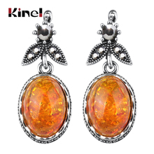 Kinel Big Oval Simulated Ambers Earrings Vintage Look Antique Silver Plated Cuff Resin Flower Fashion Jewelry