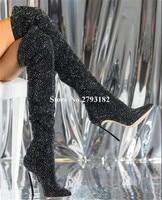 Women Bling Bling Pointed Toe Black Rhinestone Thin Heel Over Knee Boots Crystal Metal Stiletto Heel Long High Heel Boots
