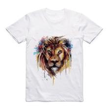 Modal White T-shirt Print Acuarela Animal Lion/Wolf/Eagle/Orangutan/Tiger/Deer Summer Top T