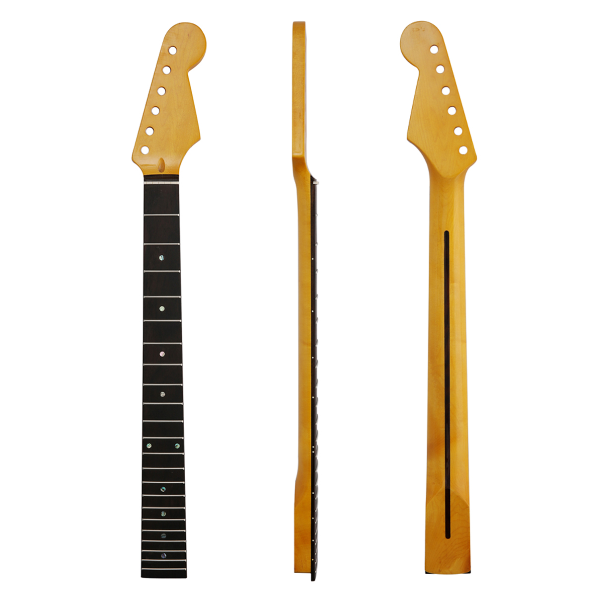 KAISH 22 Fret ST Strat Canadian Maple Guitar Neck with Rosewood Fingerboard Abalone Inlay and Bone