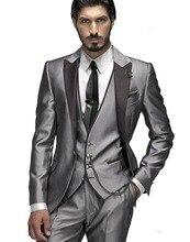 Three Pieces Hot Sale Custom Made Groom Tuxedos Silver Wedding Party Suit Dinner Suit Groomsman Suit ( jacket+Pants+vest+tie)
