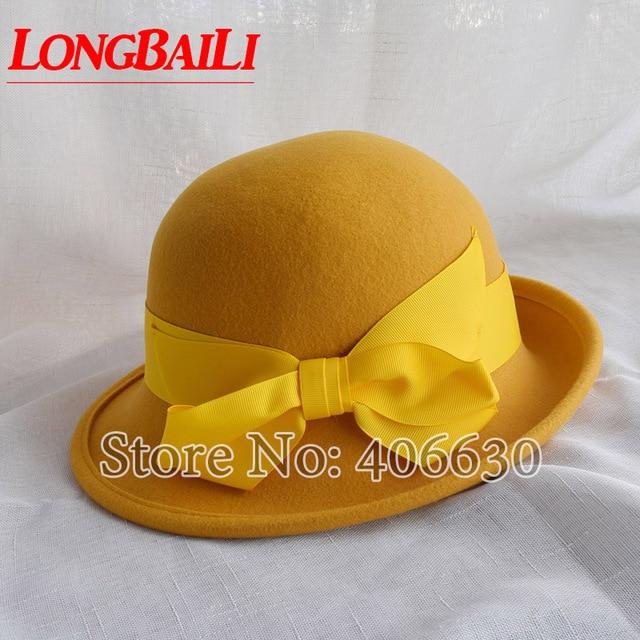 630ecdb501a Winter Yellow Wool Felt Bucket Hats Women Bowler Caps Female Derby Chapeau  Fedoras Free Shipping PWFR016