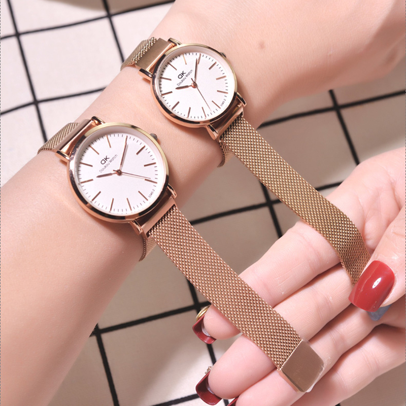 Relogio Feminino Women Magnet Watch Ladies Watch Rose Gold Wristwatch Casual Youth Fashion Trend Simple Women Watch reloj mujer