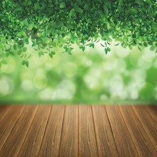 Laeacco Green Leaves Light Bokeh Wooden Floor Baby Photography Backgrounds Customized Photographic Backdrops For Photo Studio