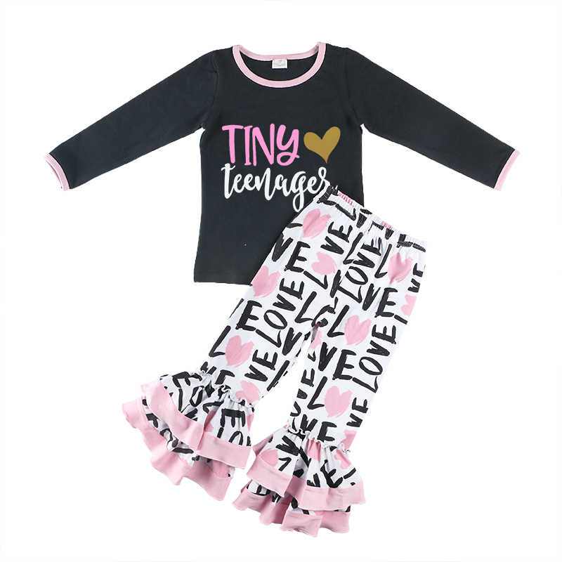 795272c9b24 Kaiya Angel 2018 Boutique Girls Outfits Wholesale Valentines Day Children  Set Cotton Tops With Letter Print