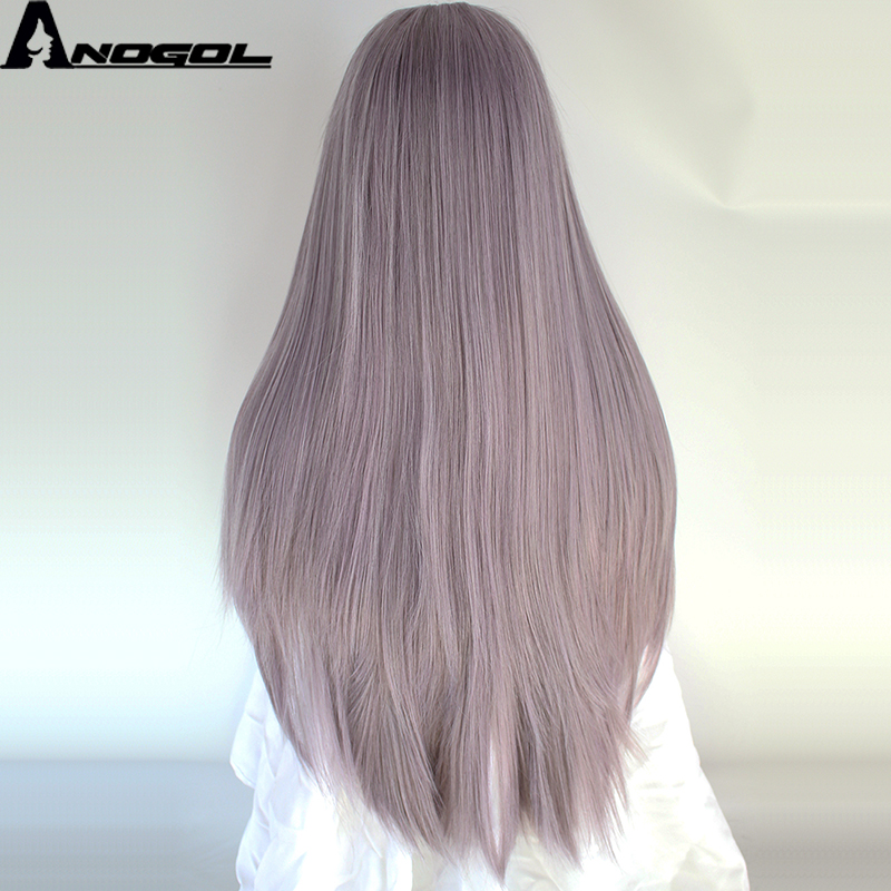 Anogol High Temperature Fiber Perruque Peruca Long Straight Frontal Hair Wigs Purple Synthetic Lace Front Wig For Women Costume
