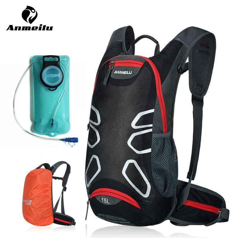 ANMEILU 15L <font><b>Cycling</b></font> Backpack Bags Waterproof MTB Road Mountain Bike with Water Bags Climbing <font><b>Cycling</b></font> Hiking Bicycle Backpacks
