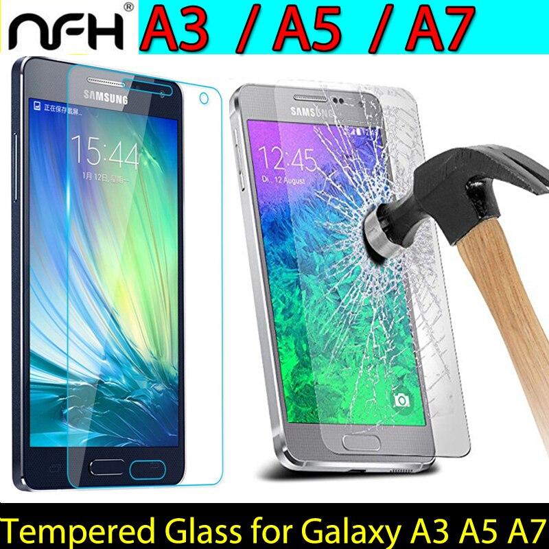 מסך זכוכית מחוסמת עבור Samsung A3 2015 A5 A7 מסך מגן זכוכית על A3 A300F A5 A500F A7 A700F 2015 סרט זכוכית שקוף