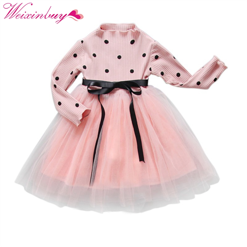 Baby Girl Bow Crochet Knit Dress Kids Long Sleeve Party Wedding Pageant Tulle Tutu Dresses bell sleeve rib knit dress