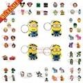 Free DHL 500Pcs/lot /Mickey/Minions/Avenger/Princess/Cartoon Key chains Charms PVC Keyrings Keychain KeyFob,Kid Party Gifts
