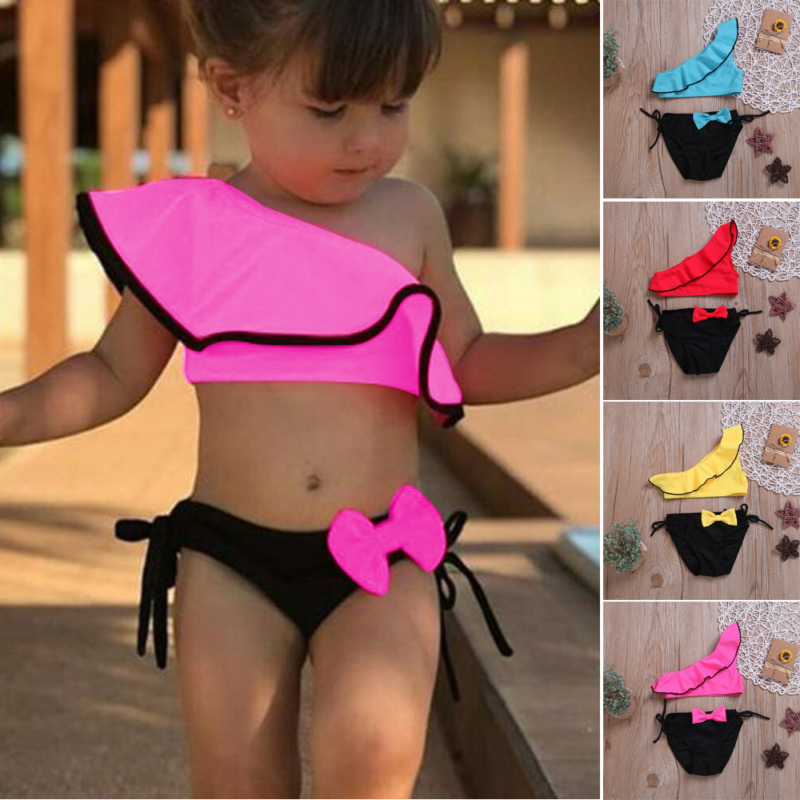 Cute Summer Newborn Baby Girl Bikini Suit Swimsuit Bandage Swimwear 2PCS Outfits Bow Sunbathing Suit Biquini(China)