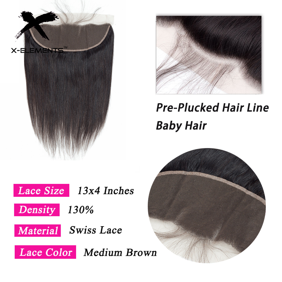 X-Elements Brazilian Straight Frontal 100% Human Hair 13x4 Lace Frontal With Baby Hair Non-Remy Natural Color Hair Extensions (18)