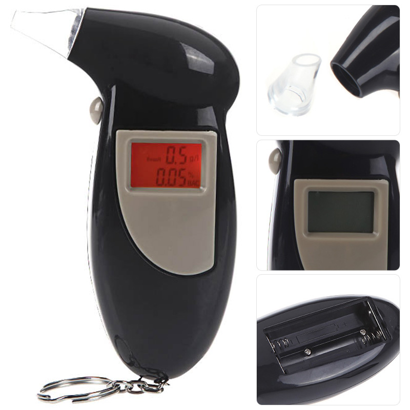 High Accuracy Quick Response Digital LCD Alcohol Tester Key Chain Alcohol Detector Breathalyzer Police Alcotester free ship+gift