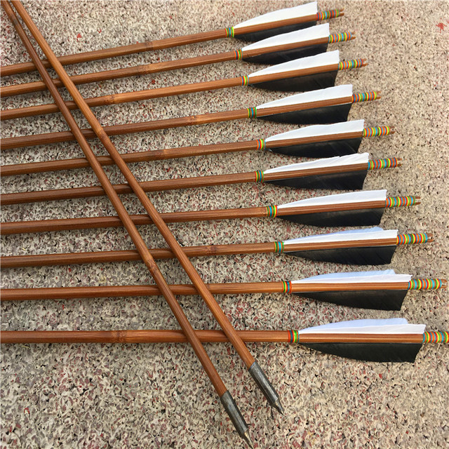 US $37 99 5% OFF|12pcs for Recurve LongBow Archery Bamboo Arrows Outdoor  Hunting Turkey Feathers Arrow with Practice Arrowheads -in Bow & Arrow from