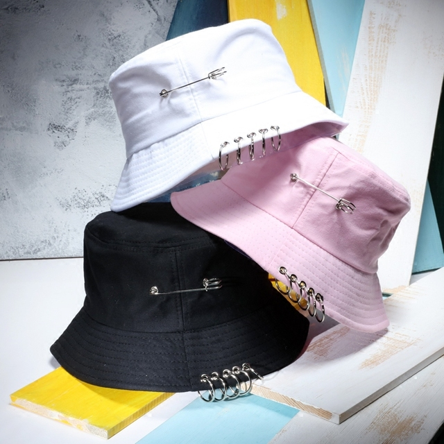 b24d47e029e Fashion Unisex Hip Hop Bucket Hat With Ring Women And Men Solid Color  Gorras Planas Casual Cotton Travel Caps