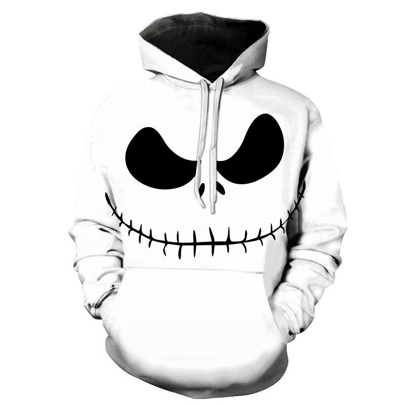 BIAOLUN 2020 Male Sweatshirt Pumpkin King Jack Skellington Evil Smile Pattern Spring Men Hoodies Cool Streetwear Halloween Party