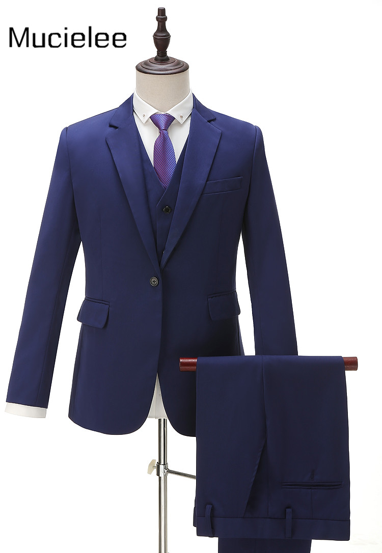 Real Picture 2017 Blue Costume Homme Custom Made Blazer Masculino Slim Fit Blazer Wedding Mens Suits 3 Pcs(jacket+pants+vest)