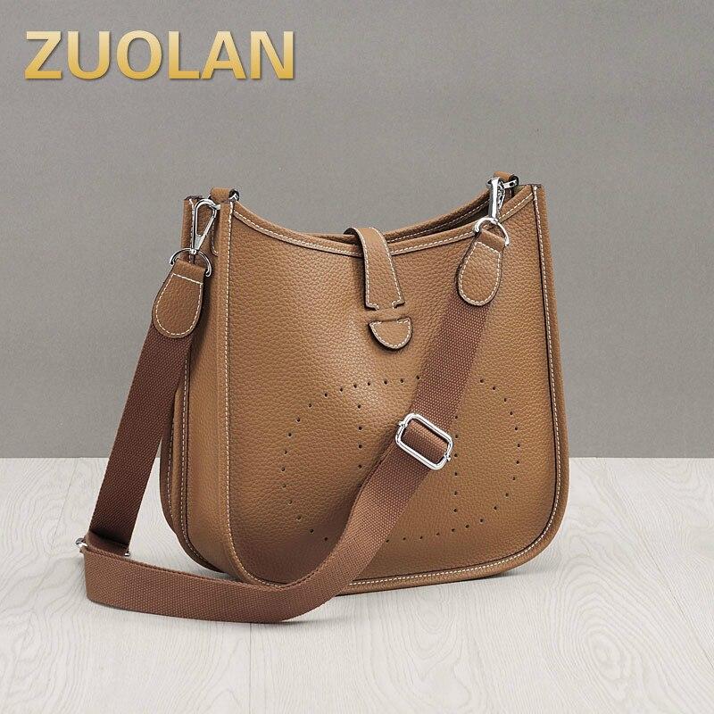 Bagaj ve Çantalar'ten Omuz Çantaları'de Moda 100% Hakiki Deri omuzdan askili çanta Yüksek Kaliteli Dana Kadın postacı çantası Lüks Kova Yumuşak Çanta Bolsas Feminina'da  Grup 1