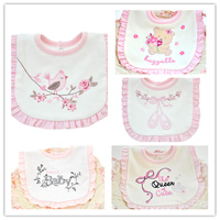 5 Pieces Pack Baby Girl Bibs Soft Princess Pink Style Baby Cotton Bandana Bibs