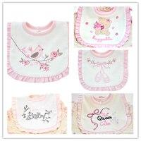 5 Pieces Pack Baby Girl Bibs Soft Princess Pink Style Baby Cotton Bandana Bibs
