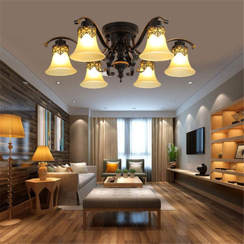 Modern Metal Glass Chandelier Ceiling Lamp Fixture Vintage Ceiling Light Retro Luminaria E27 Led Bulb Source Lamp Fitting