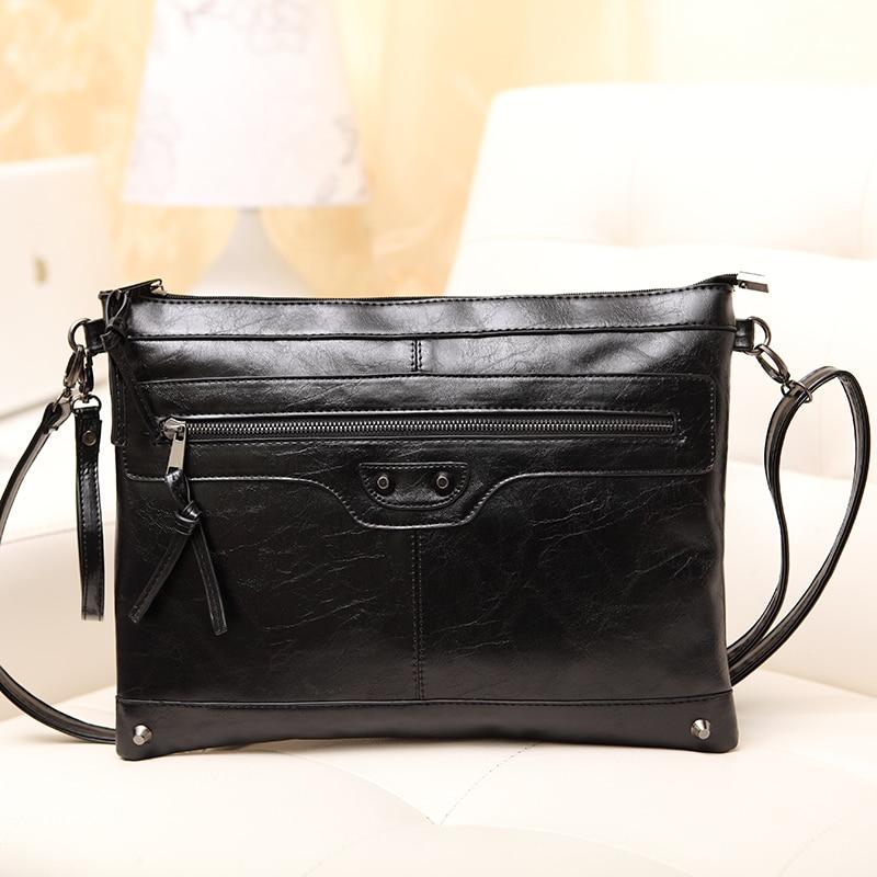 ФОТО 2017 women shoulder bag vintage motorcycle bag envelope bags day clutch portable leather handbag women messenger bags