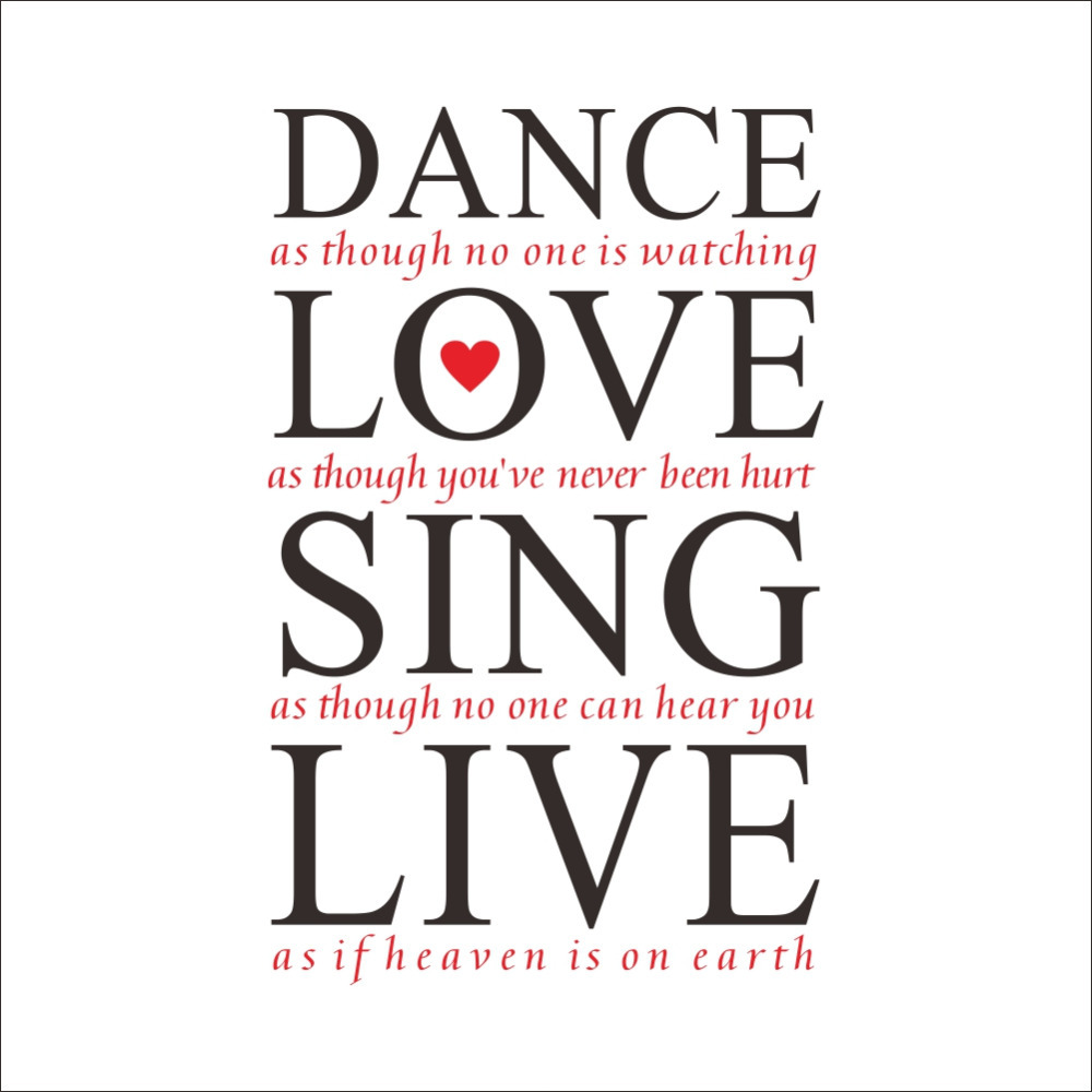 Love Art Quotes 23*36'' Dance Love Sing Live Quotes Wall Decals Vinyl Wall