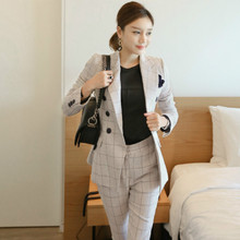 Women's business suit  2018 Elegant pants suits work wear formal slim Plaid long-sleeve blazer and trousers office ladies blazer